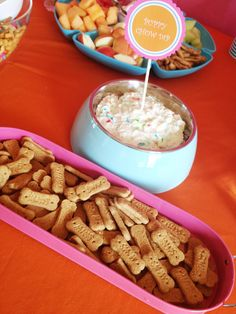 """""""Puppy Chow Dip"""" -cake batter dip served in an unused dog bowl with Scooby-Doo graham crackers."""