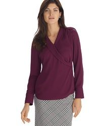 Long Sleeve Burgundy Surplice Blouse
