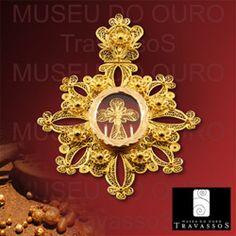 Portuguese traditional 19.2k gold filigree relique pendant FILIGRANA PORTUGUESA