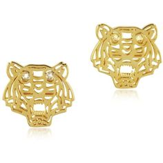 Kenzo Mini Tiger Earrings ($155) ❤ liked on Polyvore featuring jewelry, earrings, accessories, brincos, gold, logo earrings, kenzo, tiger earrings, kenzo jewelry and tiger jewelry