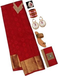 Red Pure Silk Saree With Golden Border paired with red bangles, clutch, stones ring and golden beaded sandals, earrings and statement necklace.