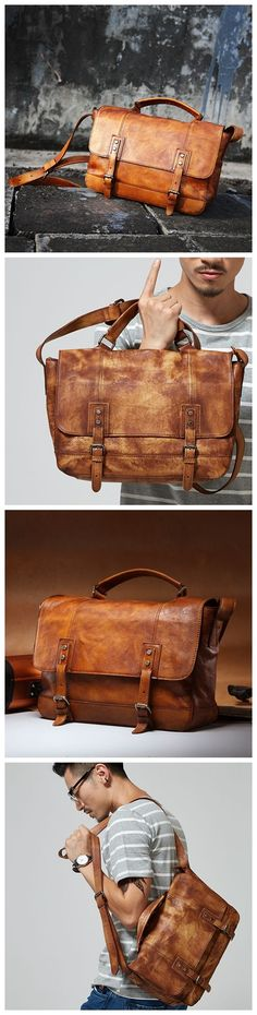 Handmade Vintage Genuine Leather Business Briefcase Men's Messenger Bag Laptop Bag 15003 Overview: Design: Vintage Leather Men's Briefcase In Stock: 4-5 days For Making Include: Only Leather Briefcase