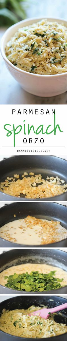 Parmesan and Spinach Orzo - This creamy orzo dish is a wonderful side or light main dish, and it's sure to be a hit with the entire family!Add rotisserie chicken for a great main dish. Pasta Dishes, Food Dishes, Main Dishes, Rice Dishes, Vegetarian Recipes, Cooking Recipes, Healthy Recipes, Easy Recipes, Side Dish Recipes