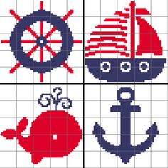 Nautical Afghan Blocks (Boys) - Graph Patterns - Set of 4
