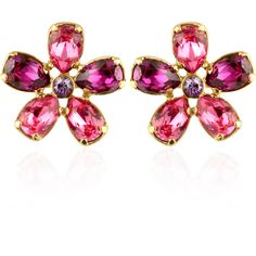AZ Collection Earrings Flower Gold Plated Clip-On Earrings ($155) ❤ liked on Polyvore featuring jewelry, earrings, purple earrings, flower clip on earrings, flower earrings, clip on earrings and flower jewellery