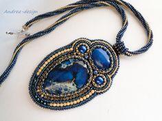 Blue Sea Sediment Jasper Bead embroidered necklace