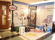 Ross' Monopoly Themed Party – Birthday . It's fascinating how children's parties are evolving, I mean it's not only focused on the basics. Monopoly Themed Parties, Monopoly Party, Theme Parties, Homecoming Floats, Homecoming Themes, Homecoming Dresses, Board Game Themes, Board Games, Monopoly Classroom