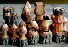 Xadrez rústico com galhos de árvores