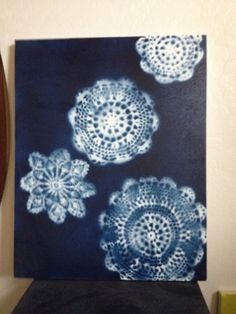 Spray paint over doilies. I am obsessed with trying this, but I just feel like I would totally screw it up. one of these days, I'm trying it!