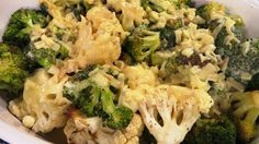 Roasted Broccoli and Cauliflower with Cheddar Dijon Sauce