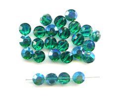 Vintage Swarovski Emerald AB 5100 Beads, 6 Millimeters (20)