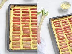 Rhabarberkuchen vom Blech mit Orange, weißer Schokolade und Baiser: https://bonnyundkleid.com/2016/06/rezept-rhabarberkuchen-vom-blech/