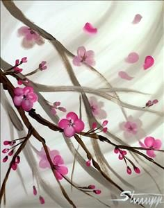 RBP Idea Japanese Blossoms - Sarasota, FL Painting Class - Painting with a Twist Diy Painting, Painting & Drawing, Watercolor Paintings, Spring Painting, Japanese Blossom, Japanese Art, Japanese Painting, Acrylic Canvas, Canvas Art