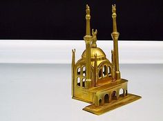 Vintage Brass Mosque Masjid Islamic Architecture Religious Building Maquette