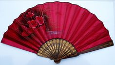FAN EVENTAIL IMPORTANT OLD CARVED WOOD STICKS WITH SILK HAND FAN