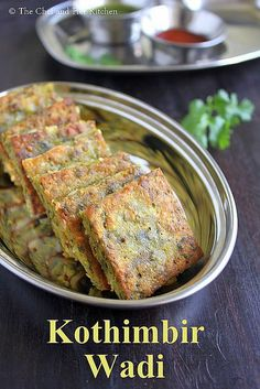 Kothimbir Vadi is basically fritters made up of Coriander leaves using besan(chickpea flour).You can basically call them as Coriander-Ch. Veg Recipes, Indian Food Recipes, Asian Recipes, Snack Recipes, Cooking Recipes, Healthy Recipes, Cooking Tips, Indian Appetizers, Indian Snacks