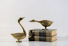 Mid century  Brass Swan Set Brass Paper by decor4home2 on Etsy