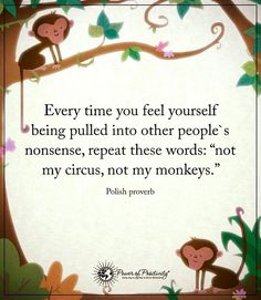 When there is drama afoot, I often remind myself, not my circus and certainly not my monkey!