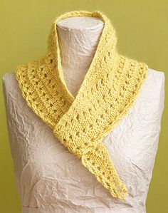 This knit shawlette scarf uses a crocheted bind-off! Use LB Collection Cotton Bambook for a light and airy summer accessory.