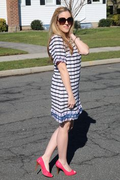 The Anthropologie Miette Textured Tunic Dress: What She Wore #50DressesForSpring | Lady and the Blog