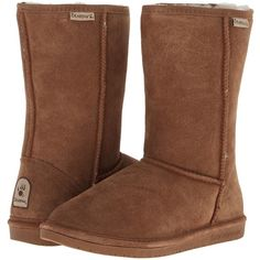 Bearpaw Emma Women's Pull-on Boots, Brown ($70) ❤ liked on Polyvore featuring shoes, boots, brown, mid-calf boots, brown platform boots, brown slip on shoes, sheeps boots and lightweight boots