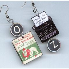 Book Earrings The Wizard of Oz L Frank Baum Vintage Typewriter ($17) ❤ liked on Polyvore featuring earrings and jewelry