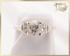 Items similar to Edwardian ~ Diamond Engagement Ring ~ White Gold ~ Original Mine Cut Diamond ~ Single Cut Diamonds ~ ~ GIA ~ on Etsy Diamond Engagement Rings, Diamond Cuts, White Gold, Antiques, Trending Outfits, Unique Jewelry, Handmade Gifts, Diamonds, Etsy