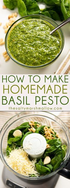 Homemade Pesto Recipe - An easy recipe for homemade basil pesto! Pesto is made from a mixture of fresh basil, garlic, cheese, nuts, and olive oil. Find out how to make it at home! dinner for three Homemade Pesto Recipe Italian Recipes, New Recipes, Vegetarian Recipes, Cooking Recipes, Favorite Recipes, Healthy Recipes, Easy Recipes, Healthy Pesto, Vegetarian Italian