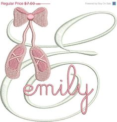 40% OFF Ballet Slippers Shoes Monogram Fonts Machine Embroidery Designs - 4x4 Hoop Instant Download Sale on Etsy, $4.20