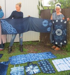 All Blues Indigo Shibori workshop conducted by Susan Fell Mclean for Byron Community College Sept 2015