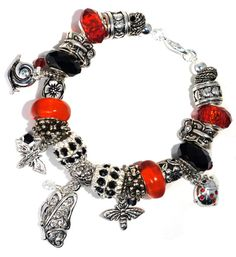 Red/Black European Bracelet Garden Charm by BrankletsNBling