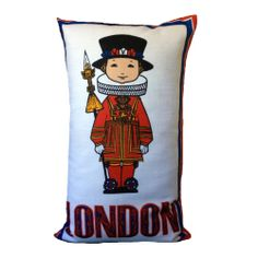 "Vintage London Beefeater Children's Cushion Cover 17"" X 28"" UpCycled. NEW"