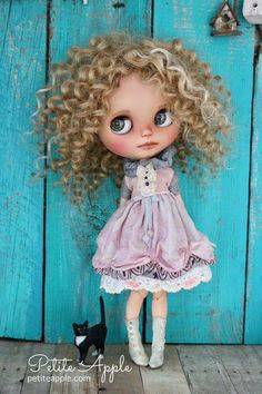 Pure silk dress for Blythe doll OOAK outfit *Cloudy day* vintage Crackle Painting, Pink Quartz, Cloudy Day, Lace Making, Little Dresses, Pure Silk, Your Girl, Blythe Dolls, Silk Dress