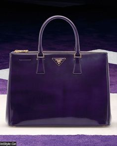 Prada Patent Purple Tote ❤ღ ℒℴvℯly The Purple, All Things Purple, Purple Stuff, Prada Handbags, Prada Bag, Purses And Handbags, Fall Handbags, Handbags Online, Luxury Handbags