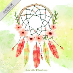 Watercolor floral dreamcatcher background  Free Vector