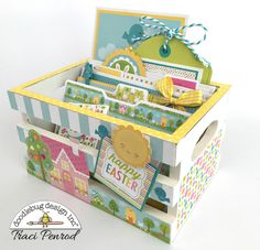 Doodlebug Design Inc Blog: Bunnyville Collection: Easter Crate Card Organzier by Traci Penrod