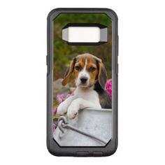 #Cute Beagle Dog Puppy in Milk Churn with Flowers - OtterBox Commuter Samsung Galaxy S8 Case - #beagle #puppy #beagles #dog #dogs #pet #pets