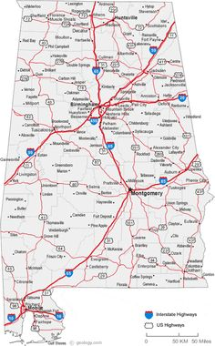 Map of Alabama Includes city towns and counties United