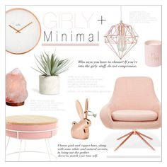 """""""Girly & Minimal"""" by alexandrazeres ❤ liked on Polyvore featuring interior, interiors, interior design, home, home decor, interior decorating, Softline, Crystal Art, Allstate Floral and homedecor"""