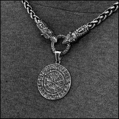 # viking Braids it works Wolf Warrior Necklace Featuring Antique Viking Braid Chain with Viking Inspired Magical Mystical Compass Protection Pendant Jumbo Box Braids, Viking Symbols, Viking Runes, Necklace Sizes, Necklace Lengths, Snarling Wolf, Wolf Warriors, Ancient Runes, Viking Braids