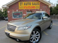 FOR SALE!  Used 2004 Gold Infiniti FX35 $10,995 4 Doors, Rear Wheel Drive, SUV, 3.5L 280.0hp, 6 Cylinders , Manual Transmission, Interior: Tan, Cars for sale at Garland Dallas, TX