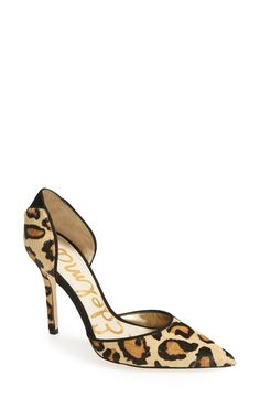 A nice bold pair of leopard shoes Sam Edelman 'Delilah' Calf Hair d'Orsay Pump (Women) available at Hot Shoes, Crazy Shoes, Me Too Shoes, Shoes Heels, Nude Shoes, Louboutin, Women's Pumps, Nude Pumps, Beautiful Shoes