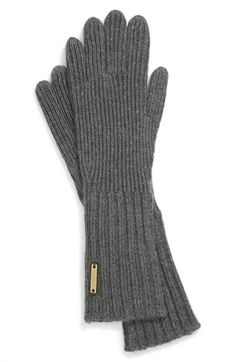 Burberry 'Cashmere Rabbit' Knit Gloves Dark Grey