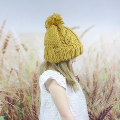 41428587a86 Mustard Yellow Kids Knit Hat with Button by WheatfieldKnitwear Knitted Hats  Kids