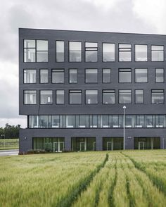 Egedal Town Hall, Denmark. The slate facade and roof gardens integrate the new town hall and health centre with the idyllic surrounding fields.