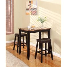3 pc Counter Height Glossy Print Marble Breakfast Table with Stools - The table features a contemporary marble-look veneer table, dark brown finish legs, dark brown blended Leather durable. easy clean, sophisticated look and feel.
