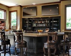 Bar Design, Elegant Traditional Home Bar Counter With Luxury Teak Wooden Bar Stools With Back Also Dark Brown Bar Cabinet And Cream Wall Paint Color Also Modern Windows Design Also Twin Flat Screen TV Also Liquors And Wines: Home Bar Counters and the Designs Depend on Space