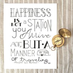Happiness Quote Quote About Traveling Life Quote by CornerChair, $10.00