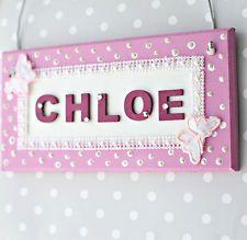 Girlu0027s Handmade Pearl Bedroom Door Sign/ Plaque Childrenu0027s Christmas Gift