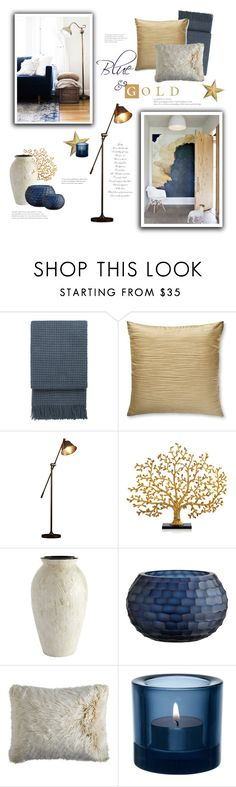 """Blue & Gold"" by catchsomeraes ❤ liked on Polyvore featuring interior, interiors, interior design, home, home decor, interior decorating, Elvang, Donna Karan, EMAC & LAWTON and Michael Aram"